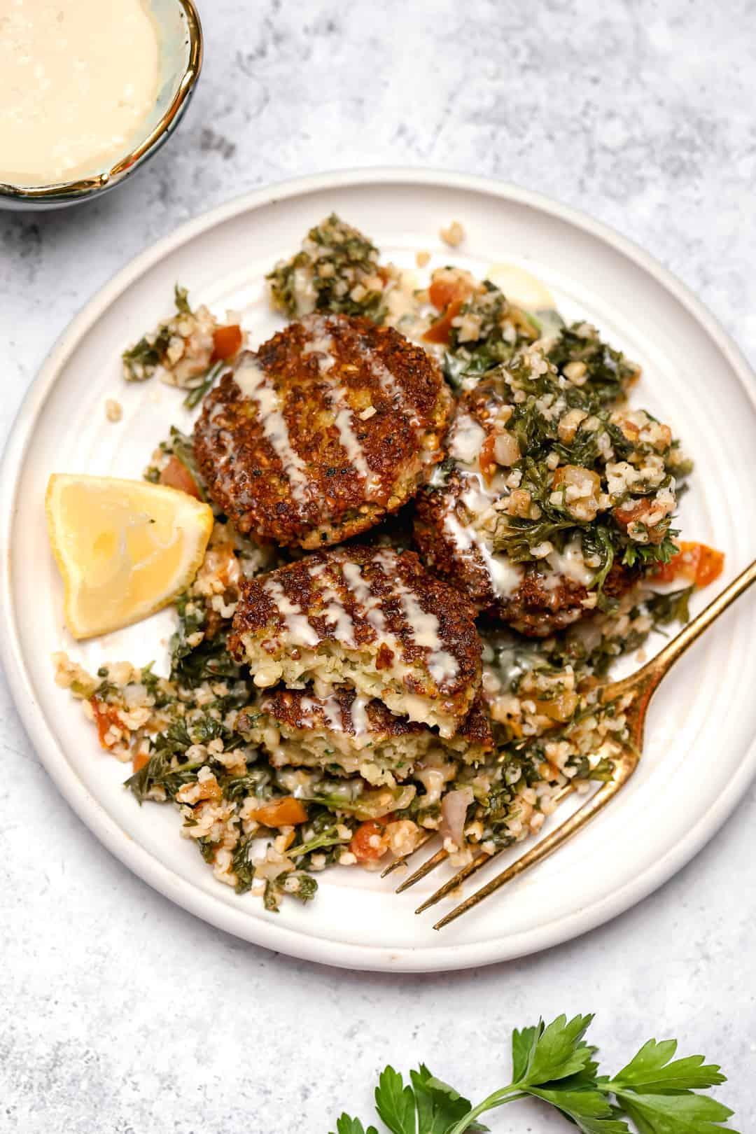 Chickpea patties with tahini and tabouli salad