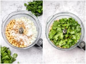 Chickpeas onion and herbs in a food processor
