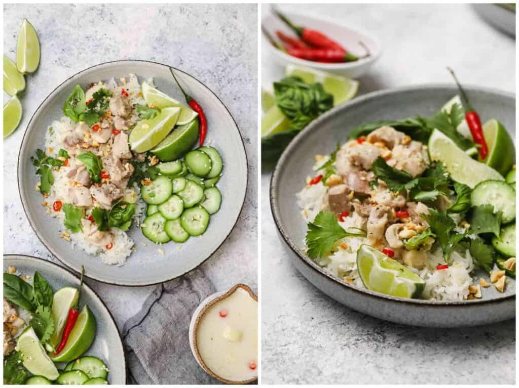 Close up of lemongrass Thai chicken over jasmine rice