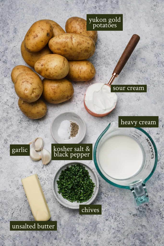 Ingredients for Sour cream mashed potatoes