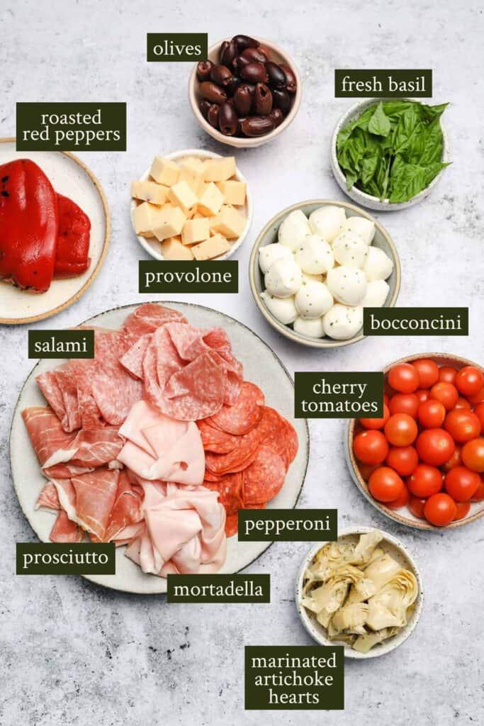 Ingredients for antipasto skewers