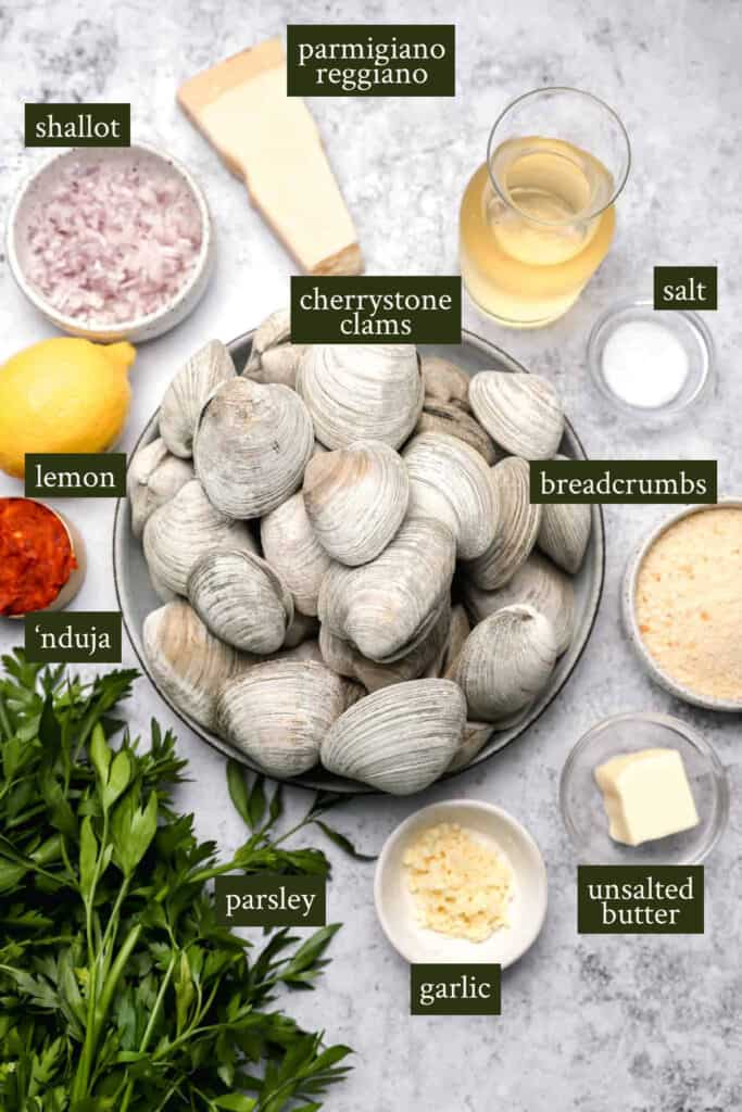 Ingredients for baked stuffed clams