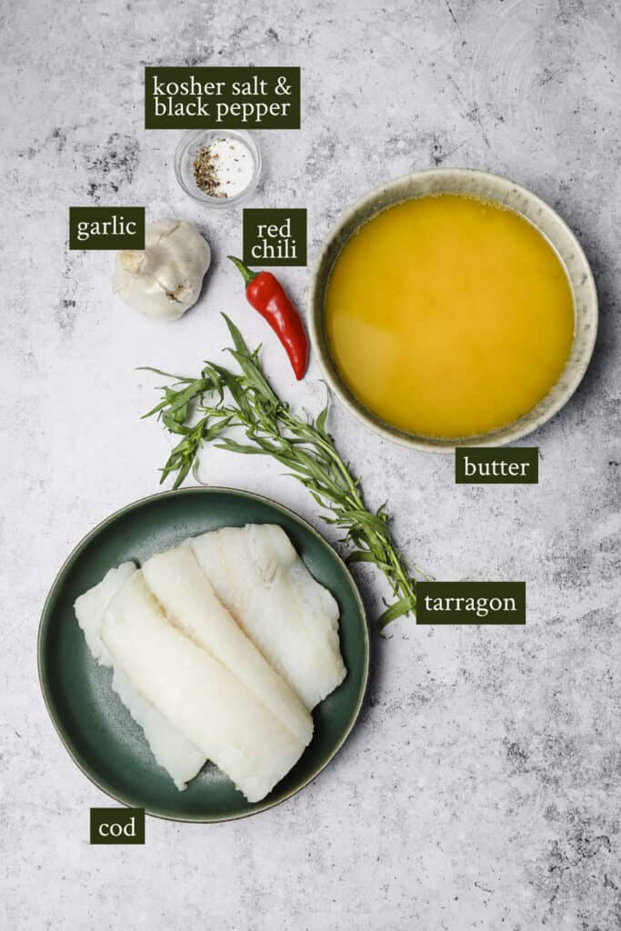 Ingredients for butter poached cod