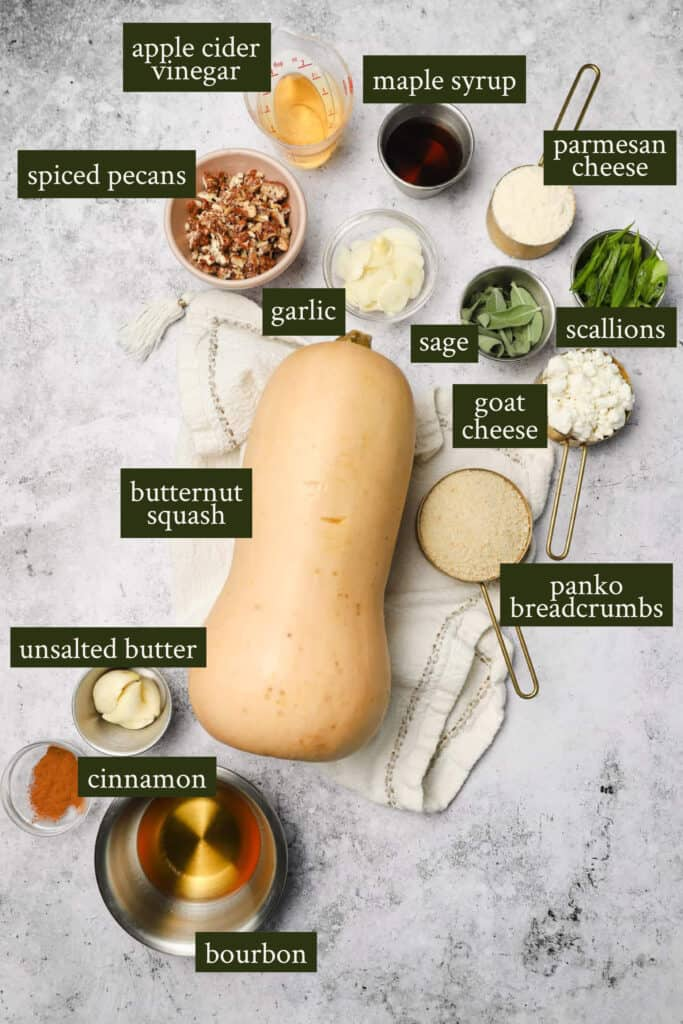 Ingredients for butternut squash with goat cheese