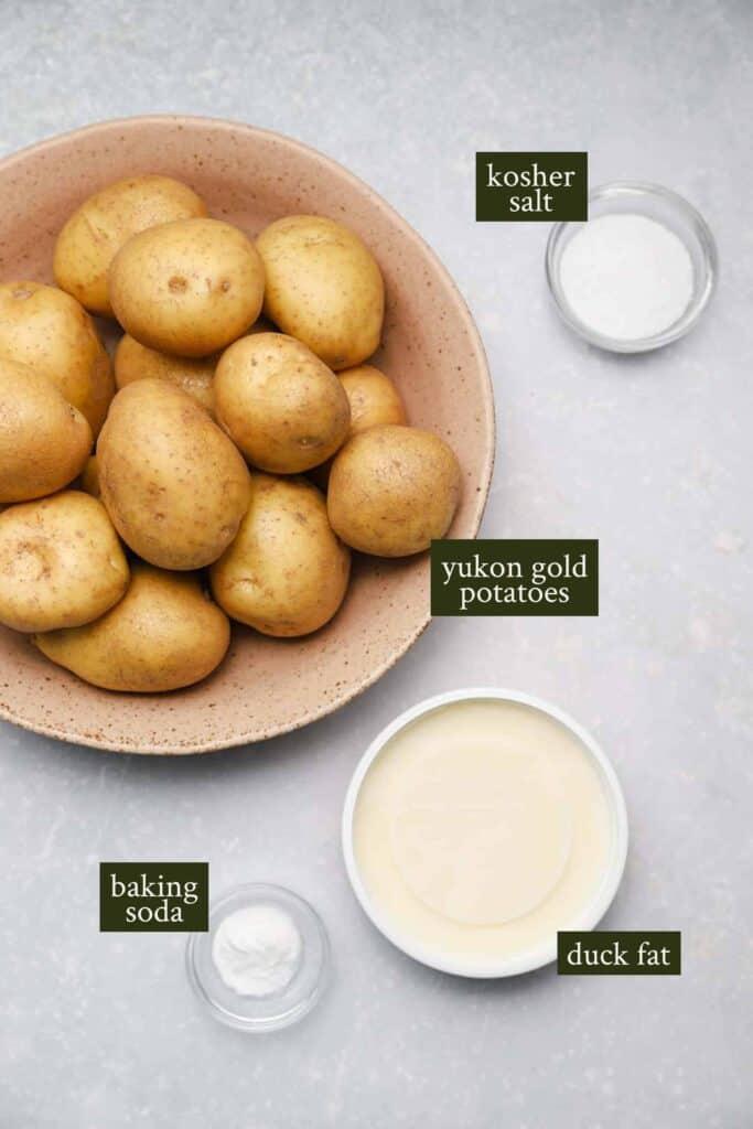 Ingredients for duck fat potatoes