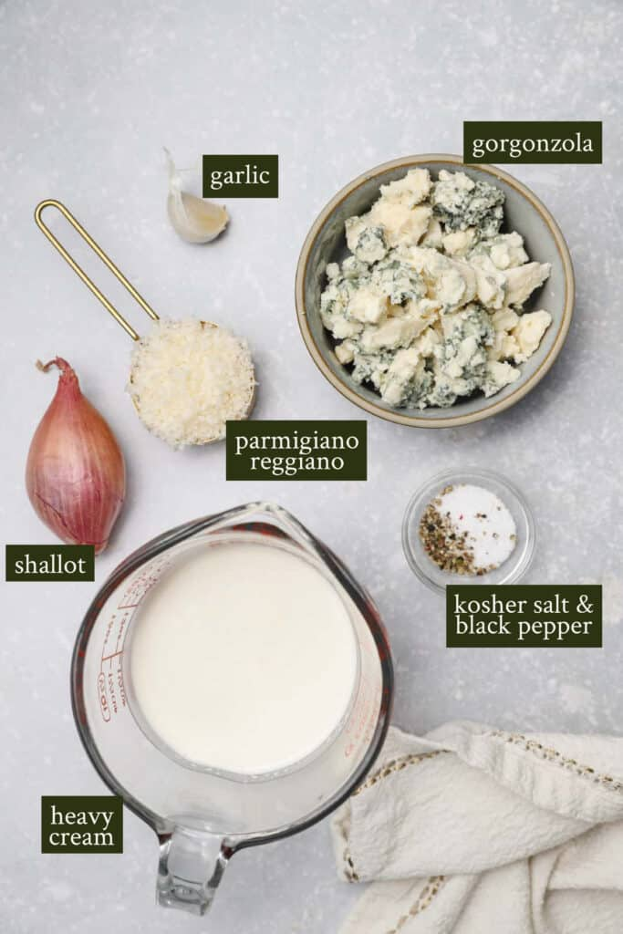 Ingredients for gorgonzola cream sauce