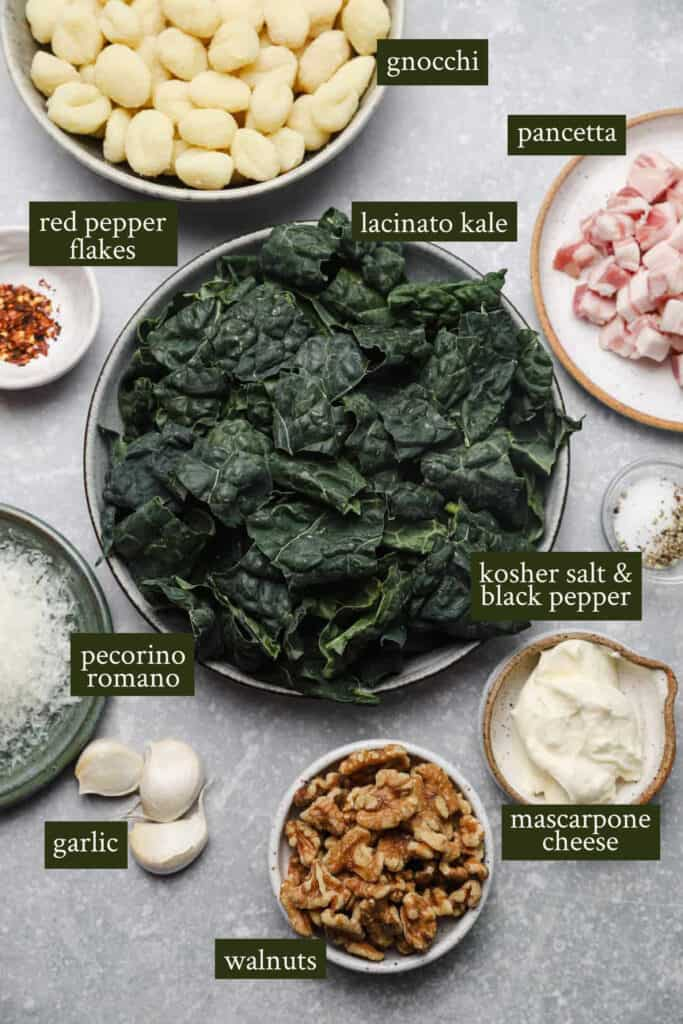 Ingredients for kale sauce with gnocchi