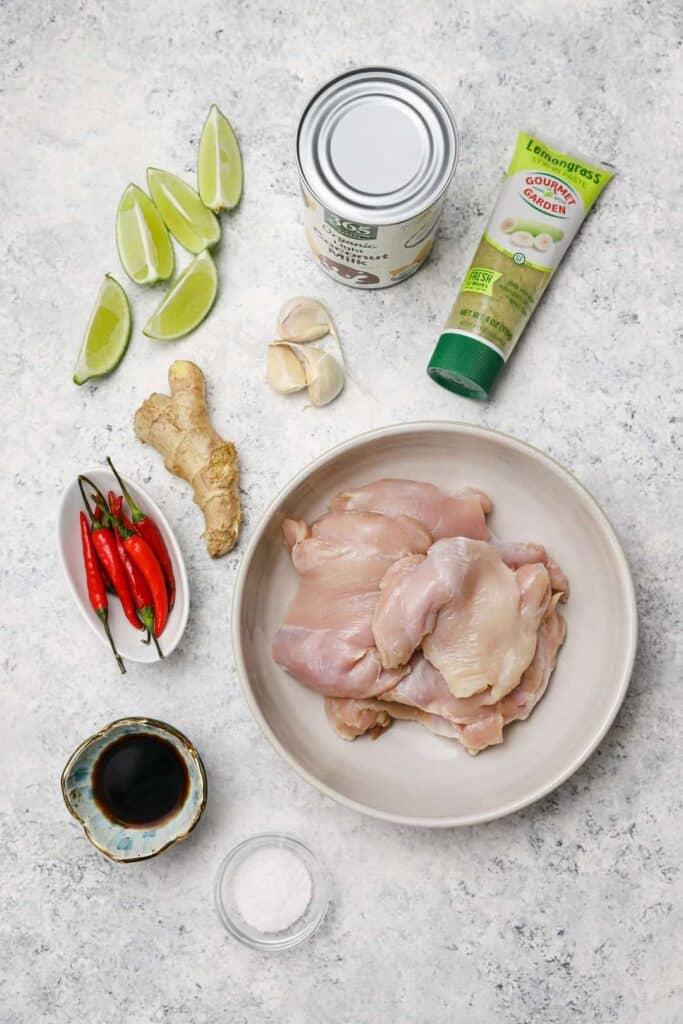 Ingredients for lemongrass Thai chicken