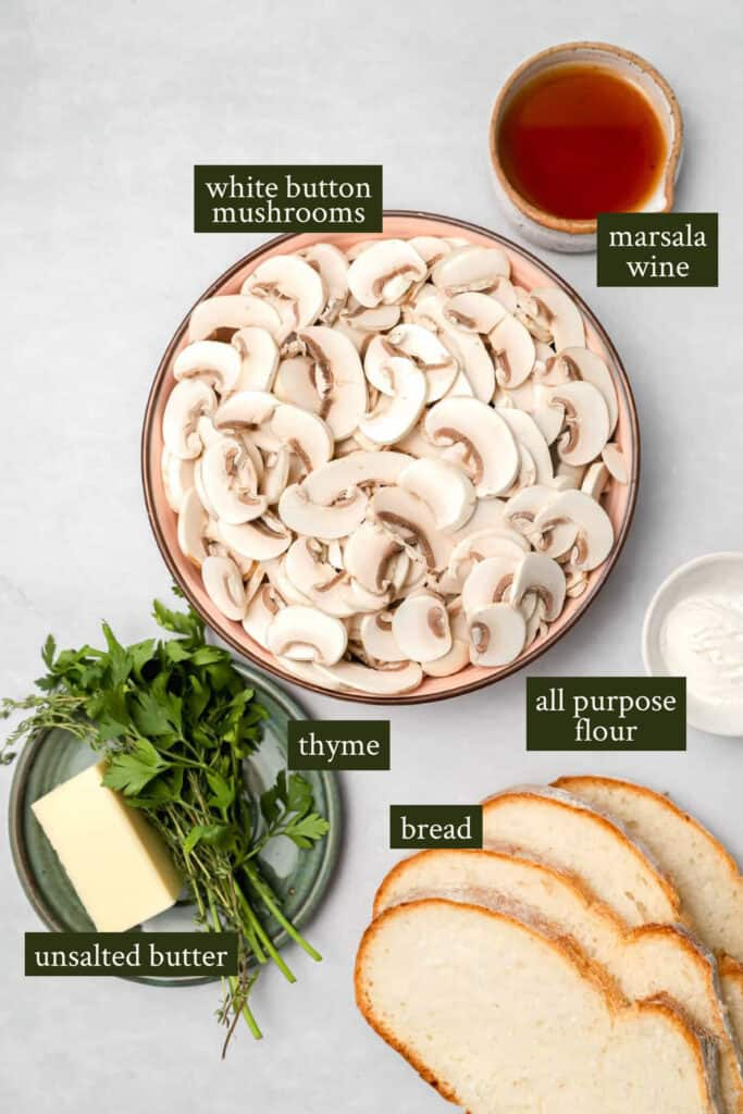 Ingredients for mushrooms on toast