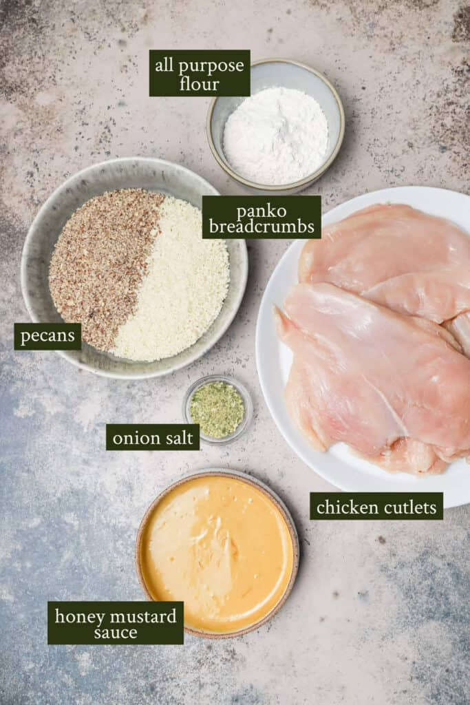 Ingredients for pecan crusted chicken