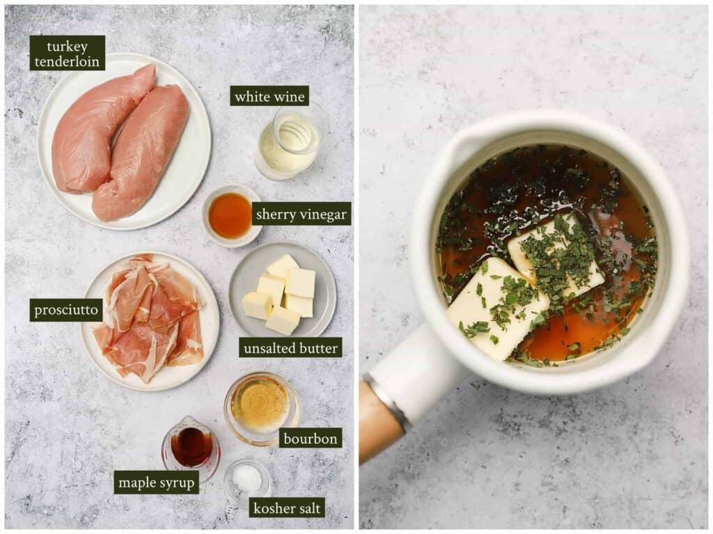 Ingredients for prosciutto wrapped turkey tenderloin