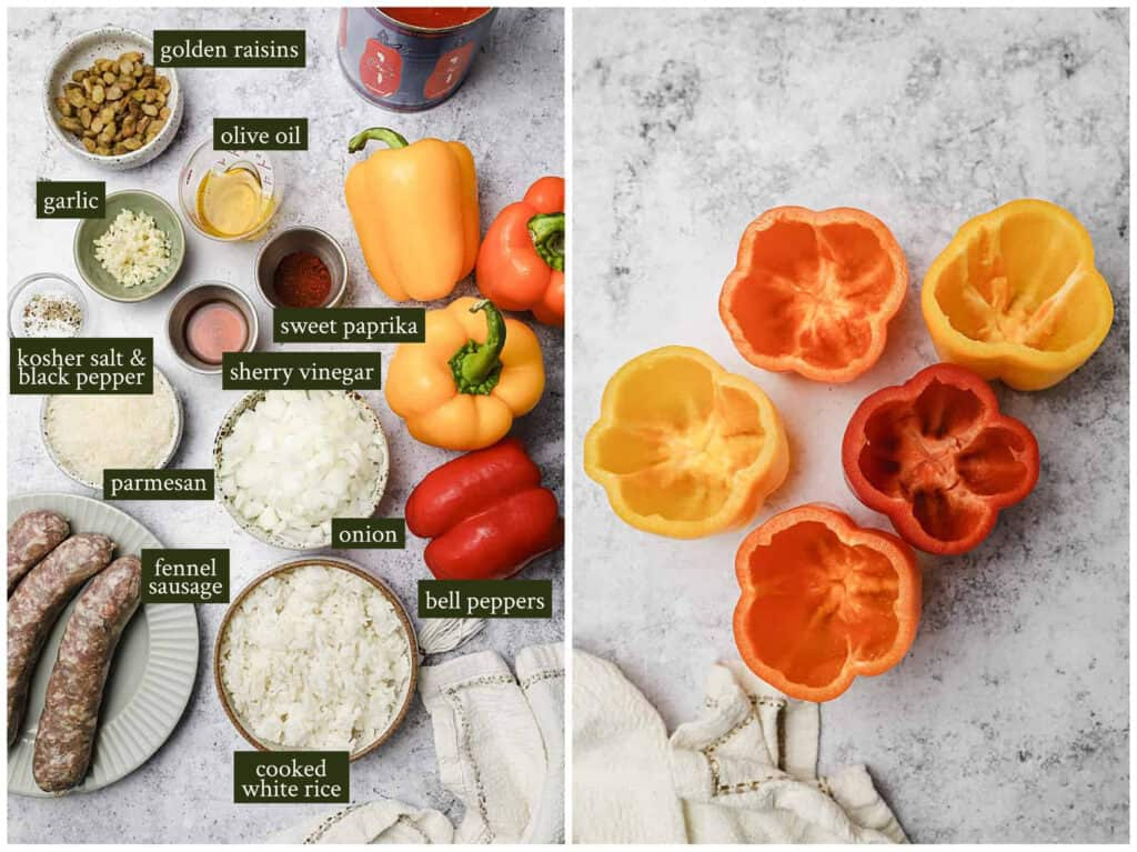 Ingredients for sausage stuffed peppers