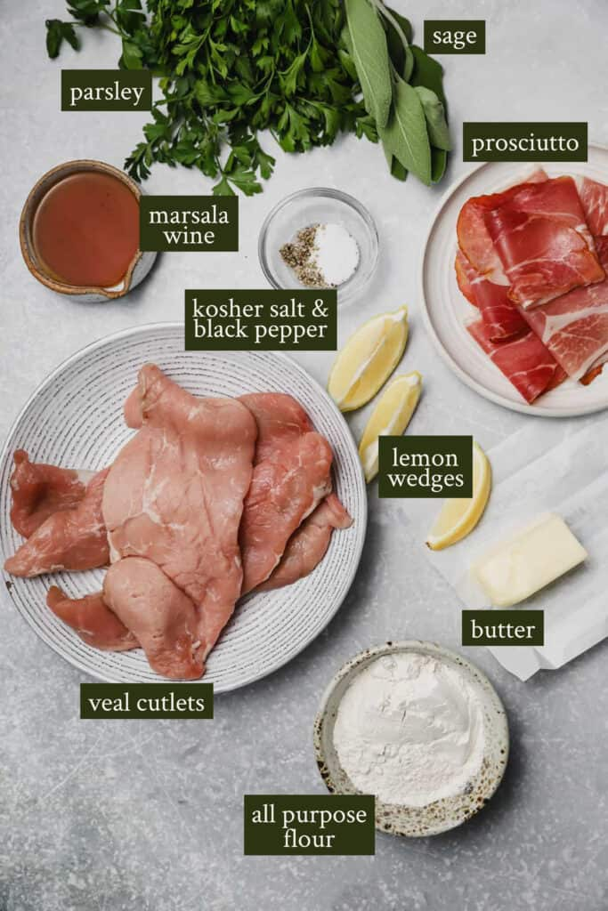 Ingredients on a board for saltimbocca
