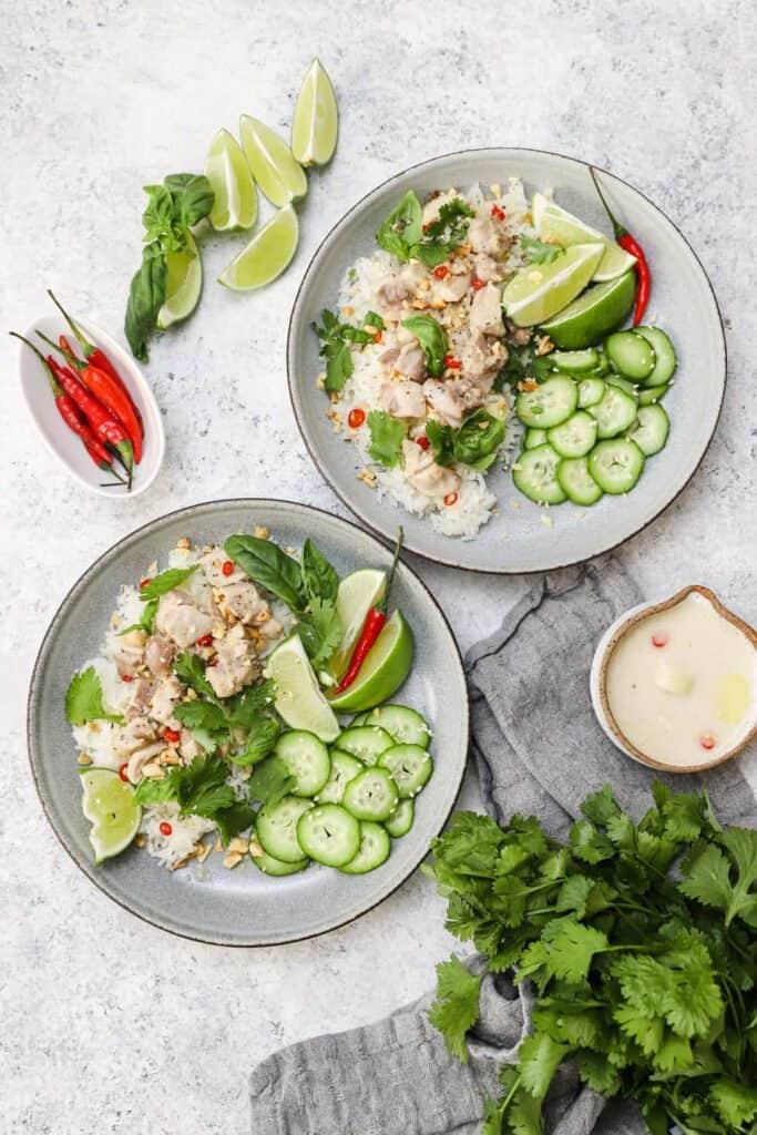 Lemongrass Thai chicken over jasmine rice with fresh herbs