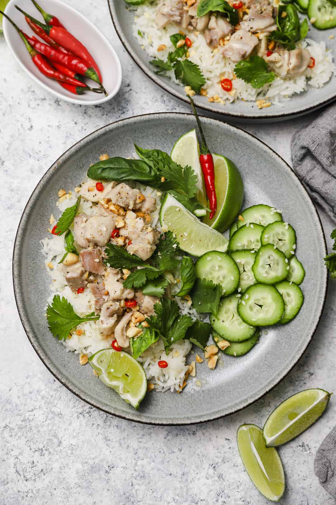 Lemongrass Thai chicken with chilies and cilantro over jasmine rice