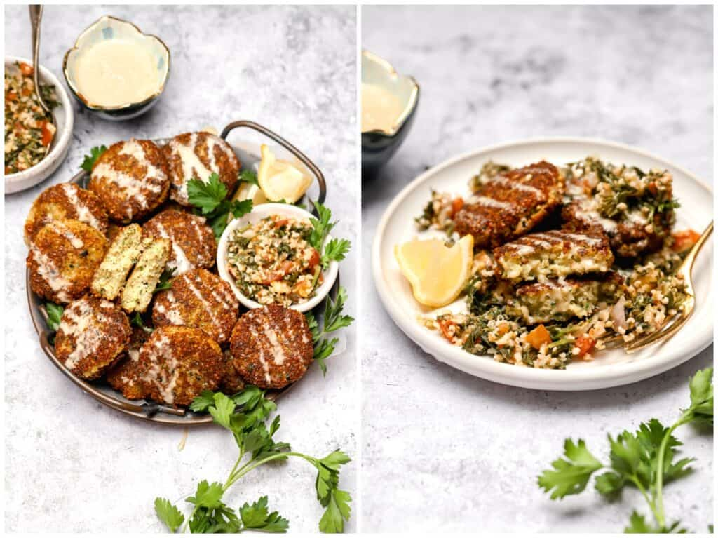 Pan fried chickpea patties with tahini and tabbouleh