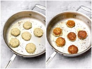 Pan frying chickpea patties in a skillet