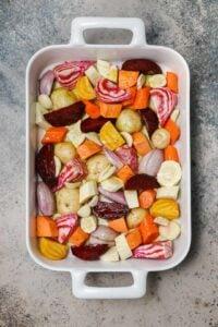 Root vegetables before roasting