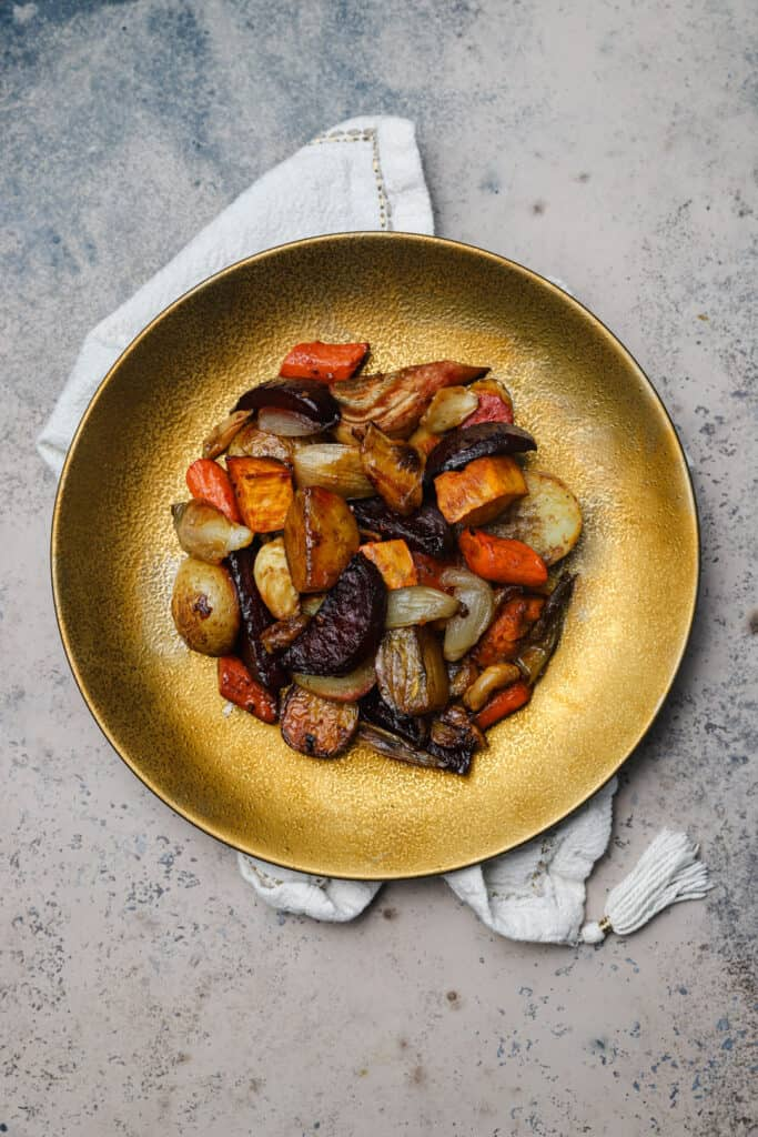 Root veggies on a plate