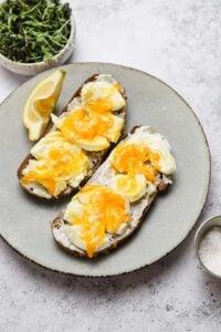 Smashed soft boiled eggs on toast with mayo