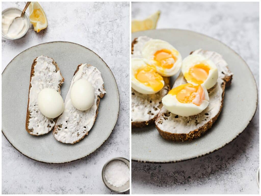 Soft boiled eggs on toast
