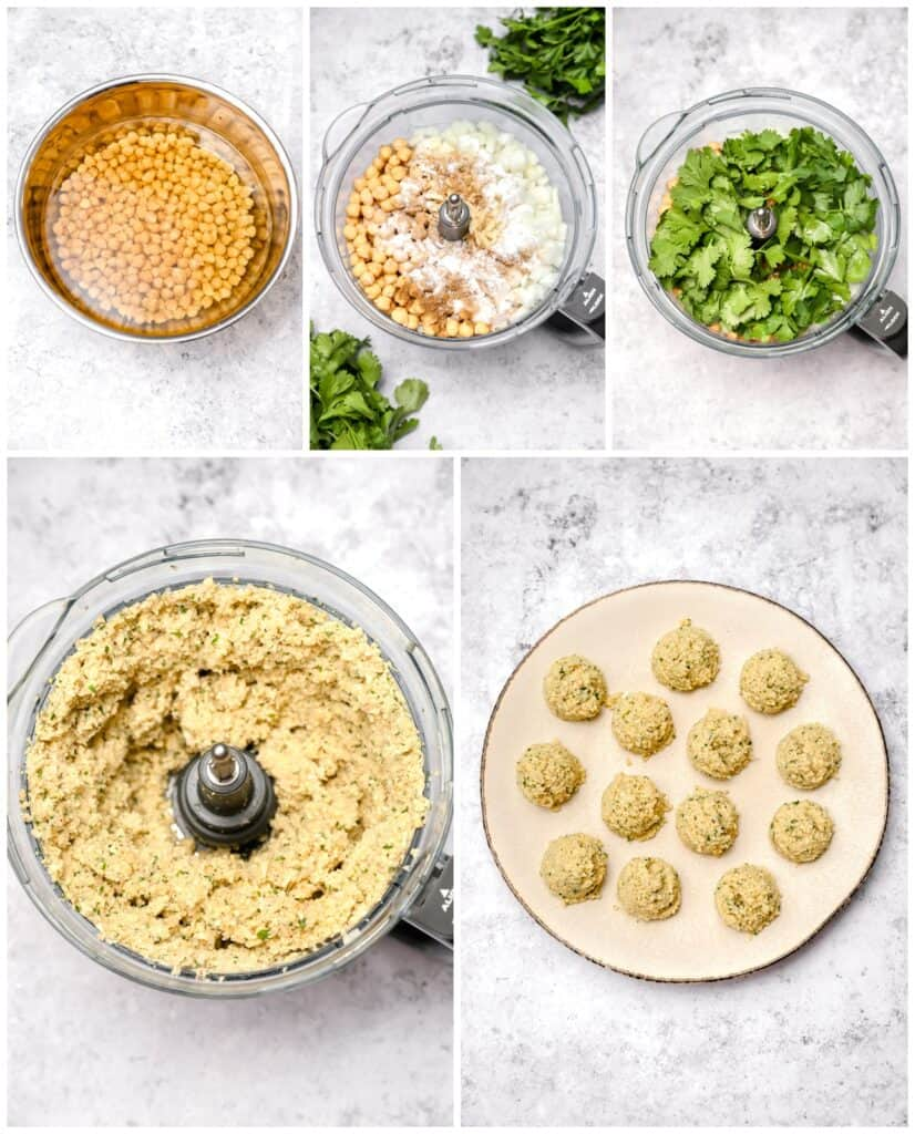 Step by step instructions for making chickpea patties