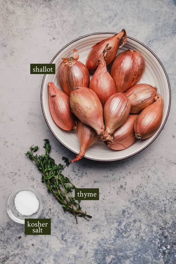 Whole shallots in a bowl