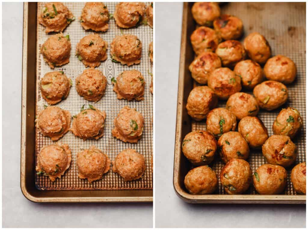 Broiled gochujang chicken meatballs on a baked sheet