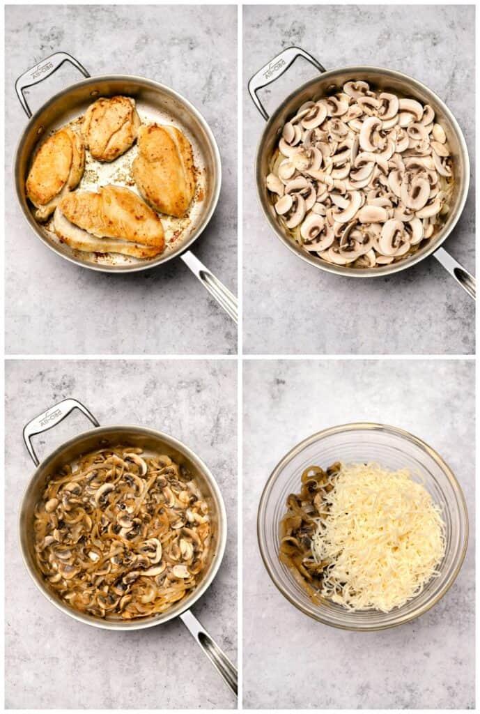 Browning chicken and sautéing mushrooms for marsala