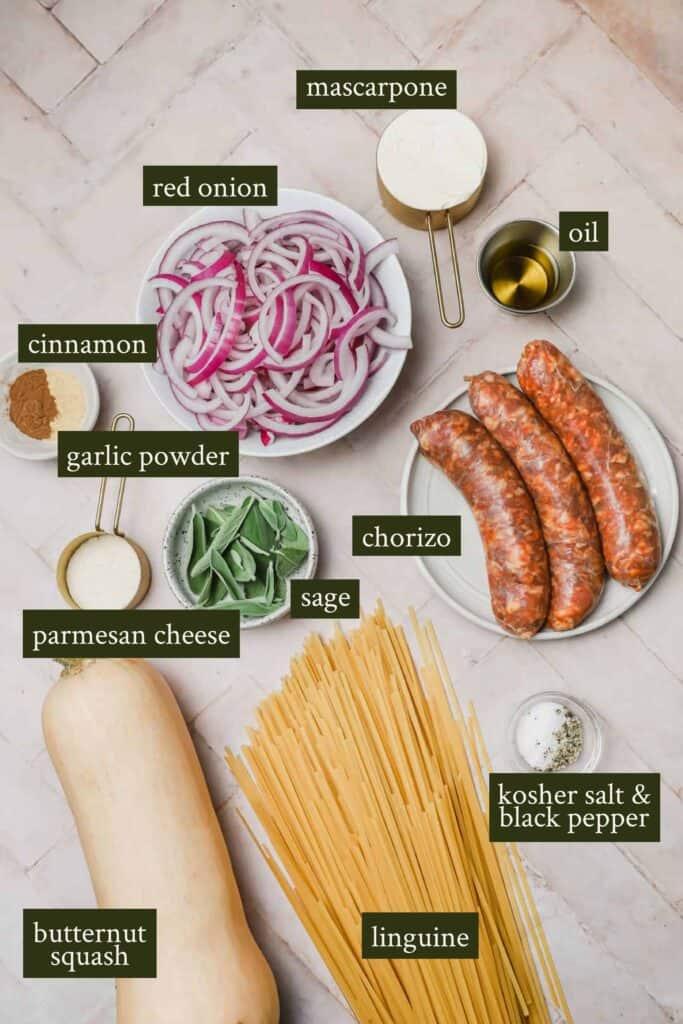 Butternut squash pasta ingredients
