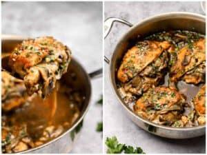Chicken marsala in a skillet