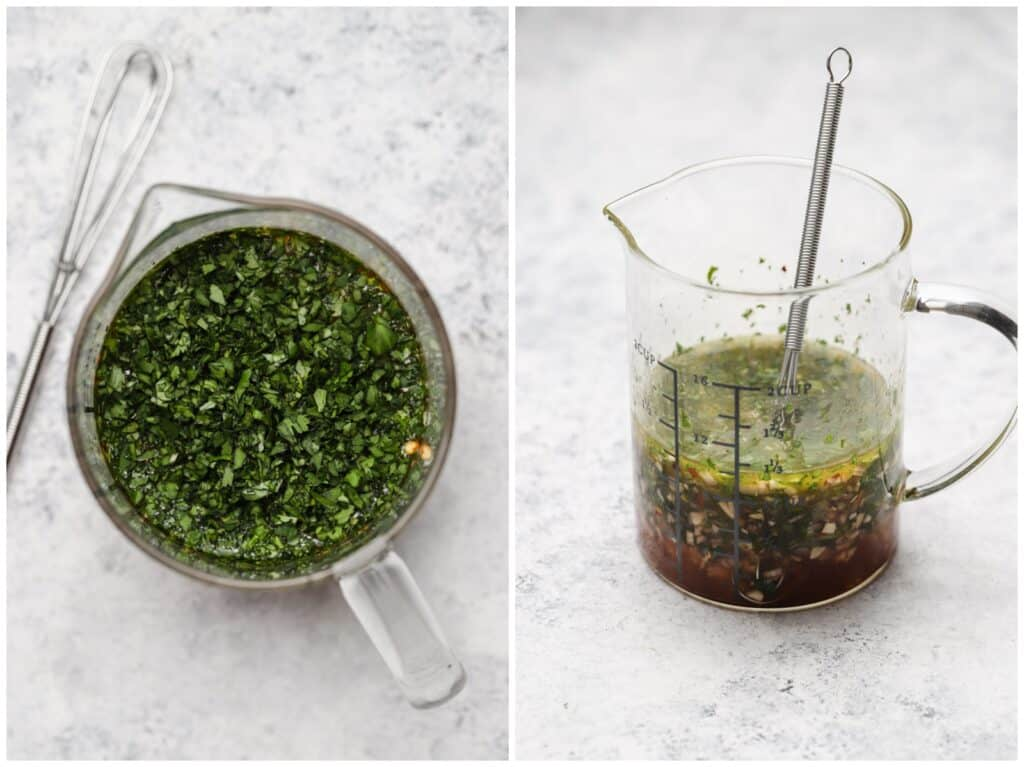 Cilantro chimichurri in a measuring cup