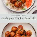 Gochujang chicken meatballs pinterest graphic