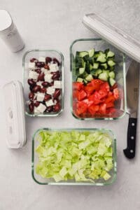 Greek salad ingredients meal prepped