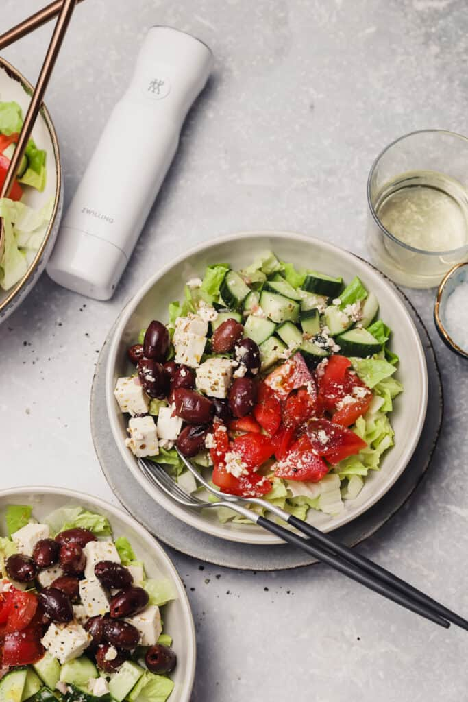Greek salad with romaine lettuce in a bowl