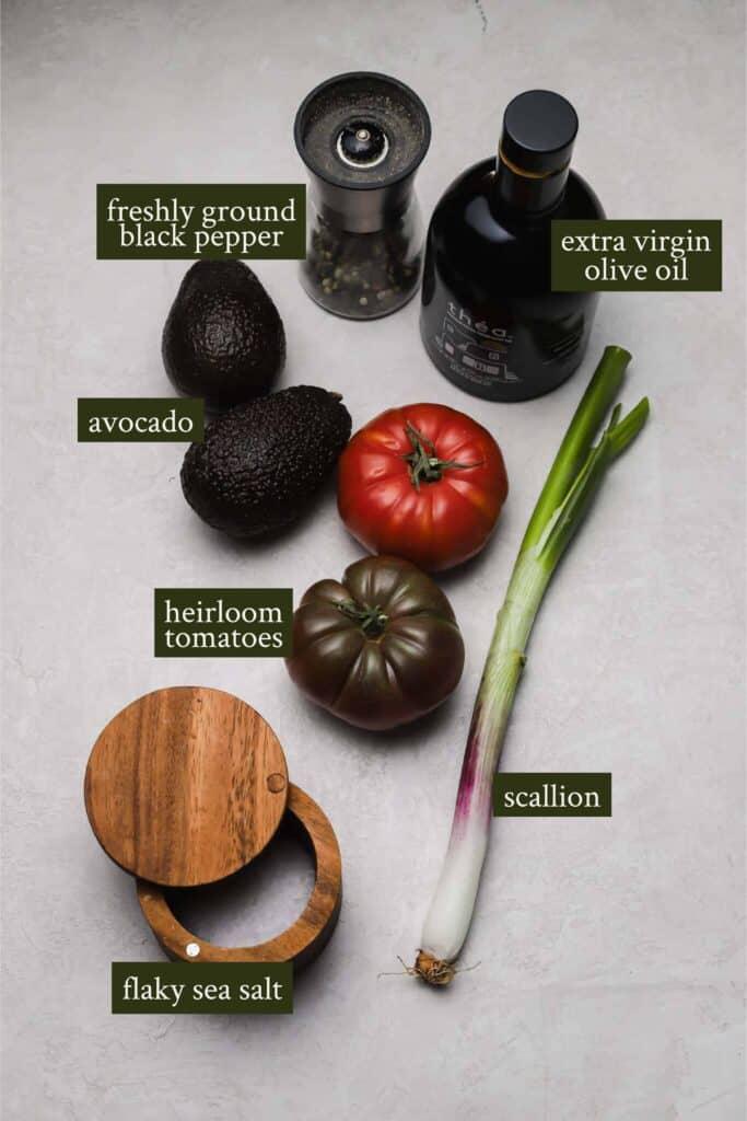 Ingredients for Avocado tomato salad