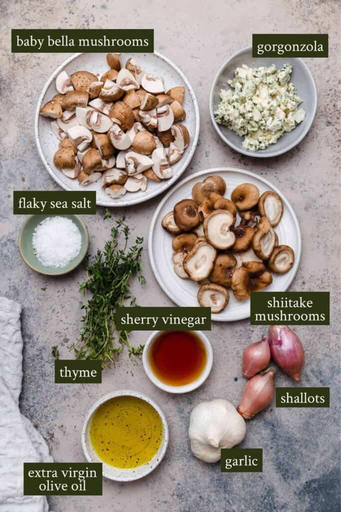 Ingredients for Polenta with roasted mushrooms