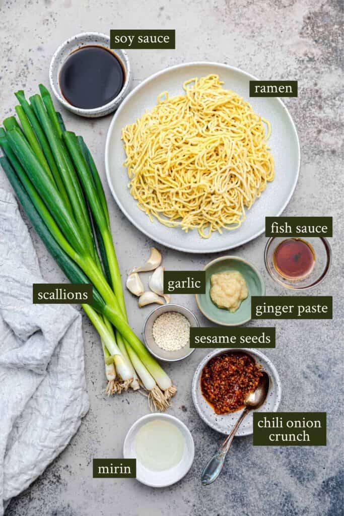 Ingredients for Spicy ramen noodles