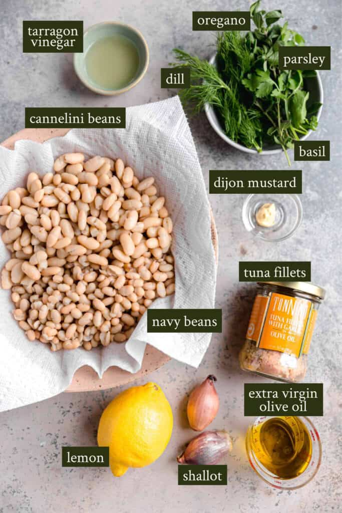 Ingredients for White bean salad with tuna