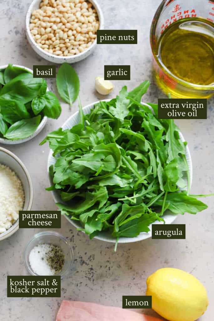 Ingredients for arugula pesto