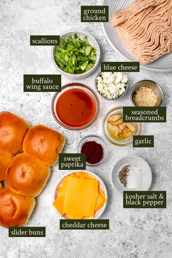 Ingredients for buffalo chicken sliders