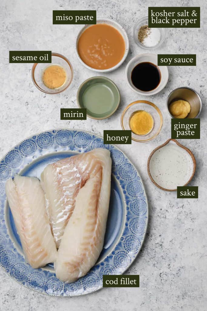 Ingredients for cod with miso and ginger