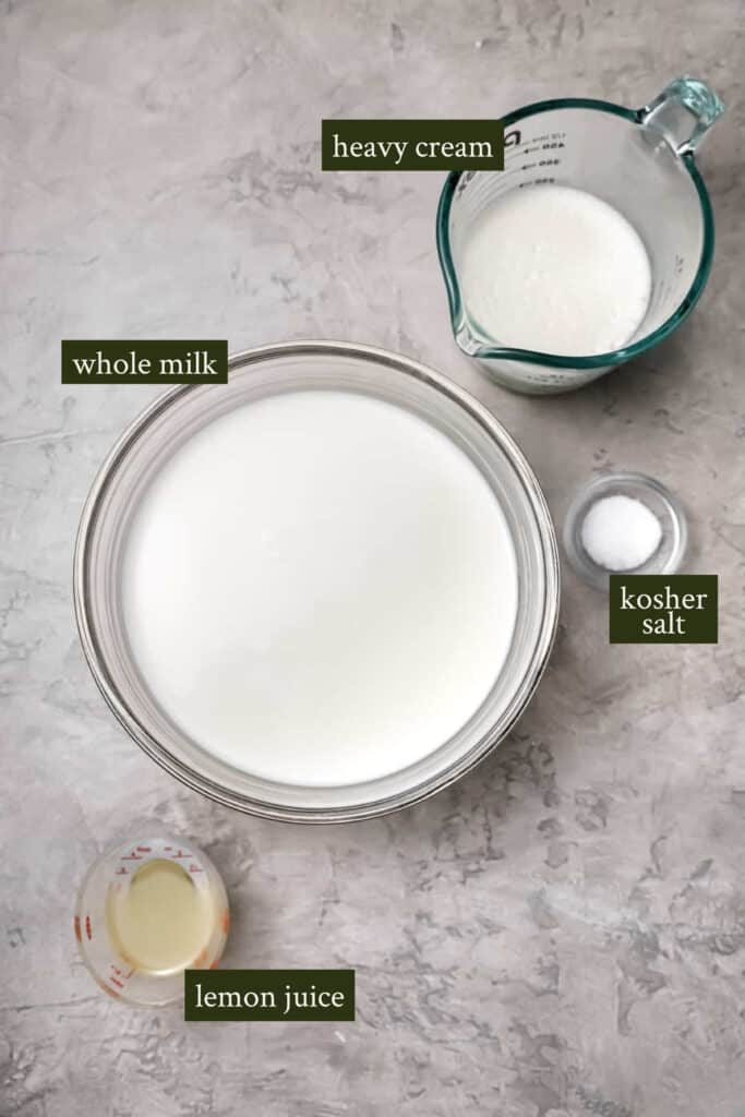 Ingredients for fresh ricotta cheese