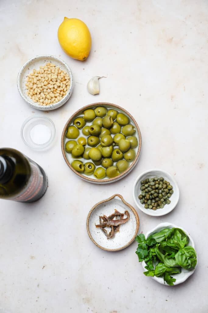 Ingredients for green olive tapenade