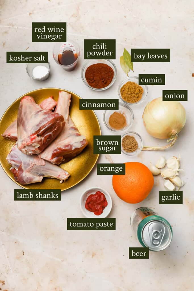 Ingredients for lamb tacos