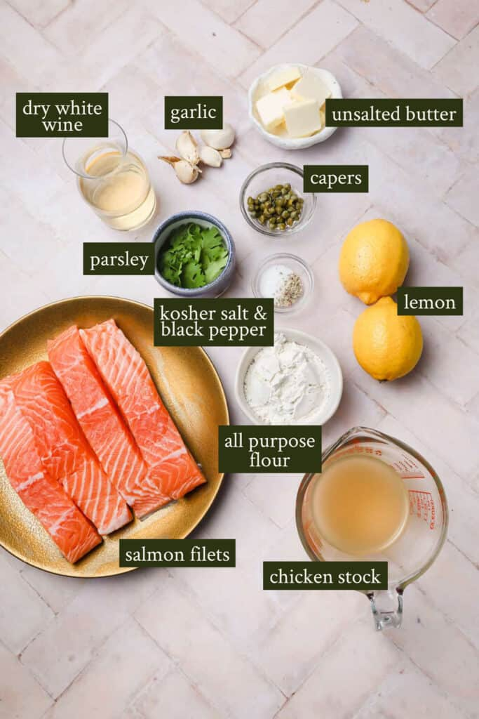 Ingredients for salmon piccata