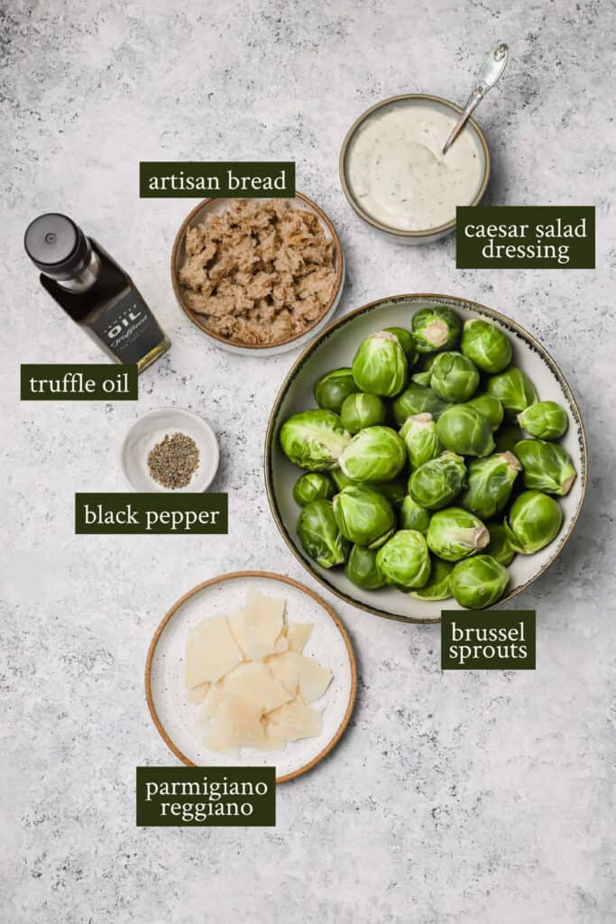 Ingredients for shredded brussel sprouts salad