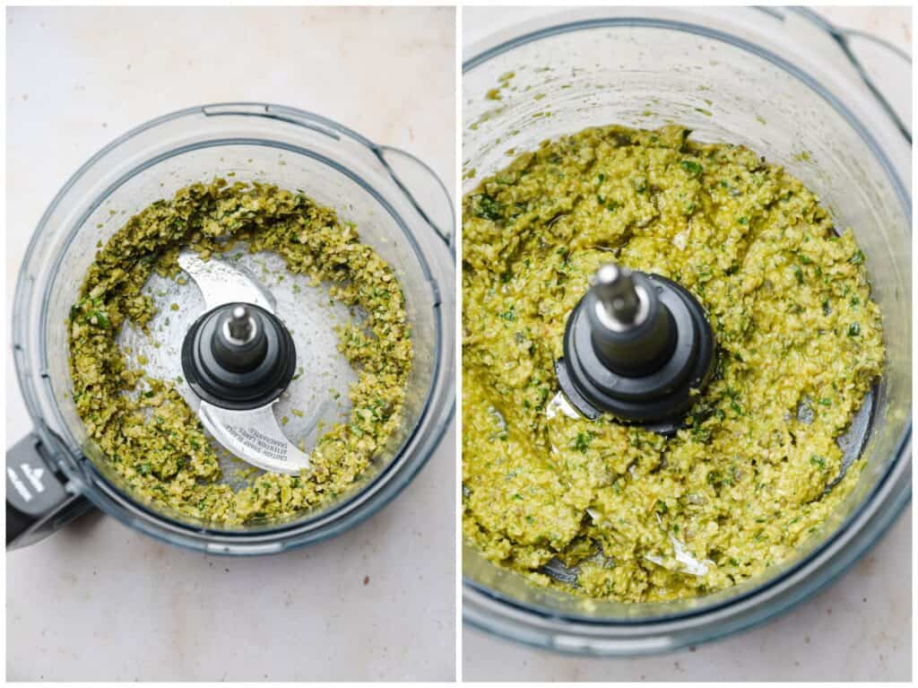 Making olive tapenade in a food processor