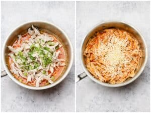 Mixing pulled chicken into buffalo sauce