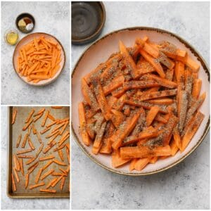 Mixing sweet potato wedges with spices